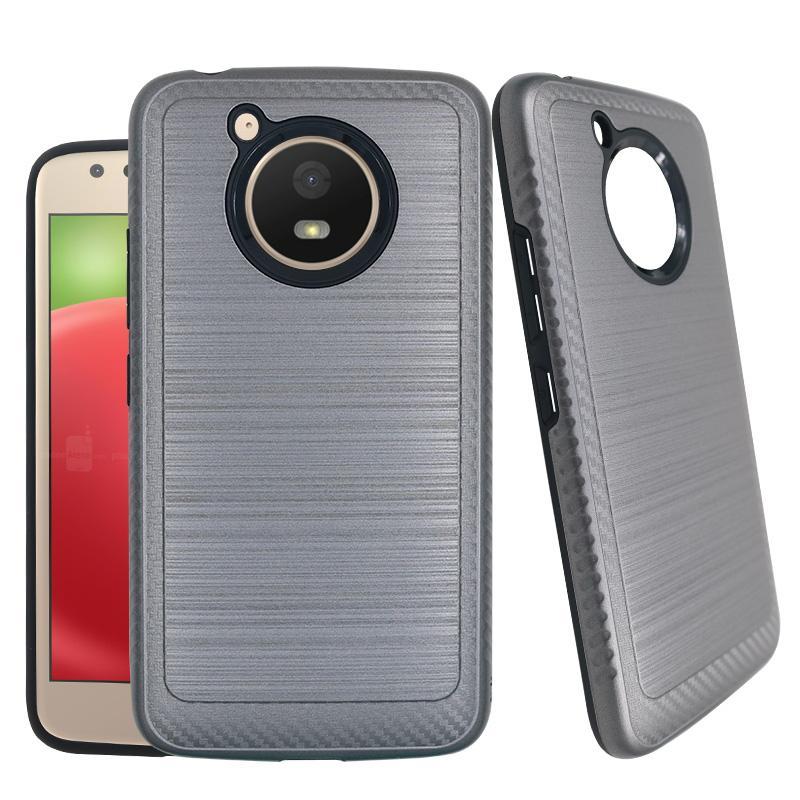 Pour E6 E5 E4 G7 G6 G5 PLAY Motorola g Z3 jouer couche brossé double métal hybride anti-choc Pare-chocs Protection cas de téléphone