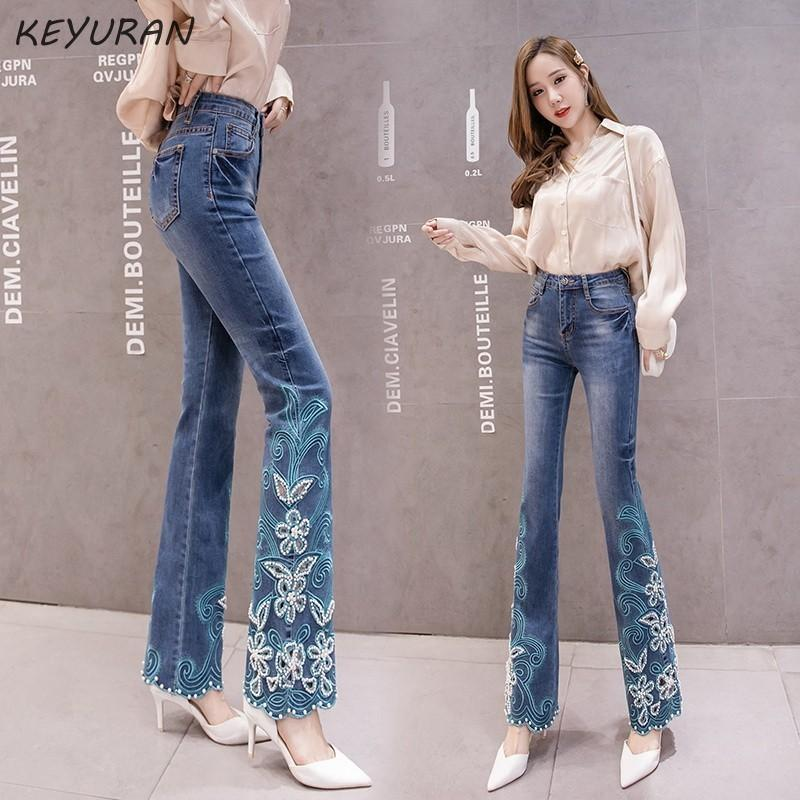 Hollow out perline floreale ricamato blu a vita alta Jeans a zampa Donne Boot Cut Pantaloni Stretch Skinny parte inferiore di campana pantaloni in denim