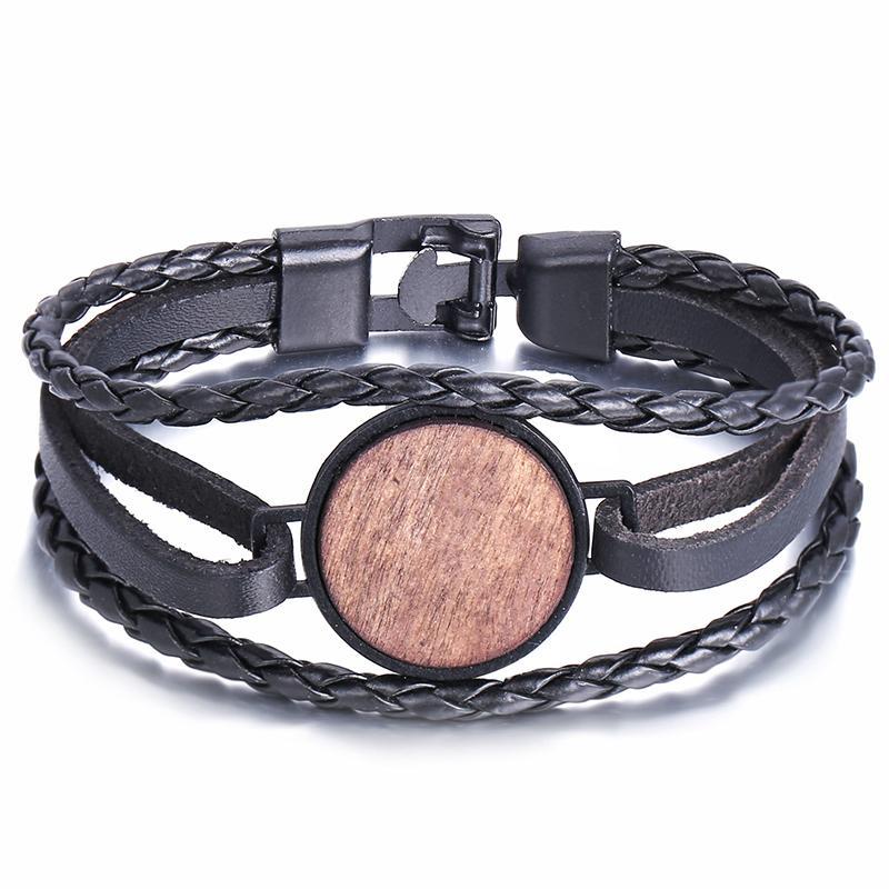 Discoteca pulsera de regalo al por mayor cuero de los hombres Ronda creativa del pedazo de madera Negro mujeres pulsera tejida pulsera de cuero de la PU Pareja retro del partido
