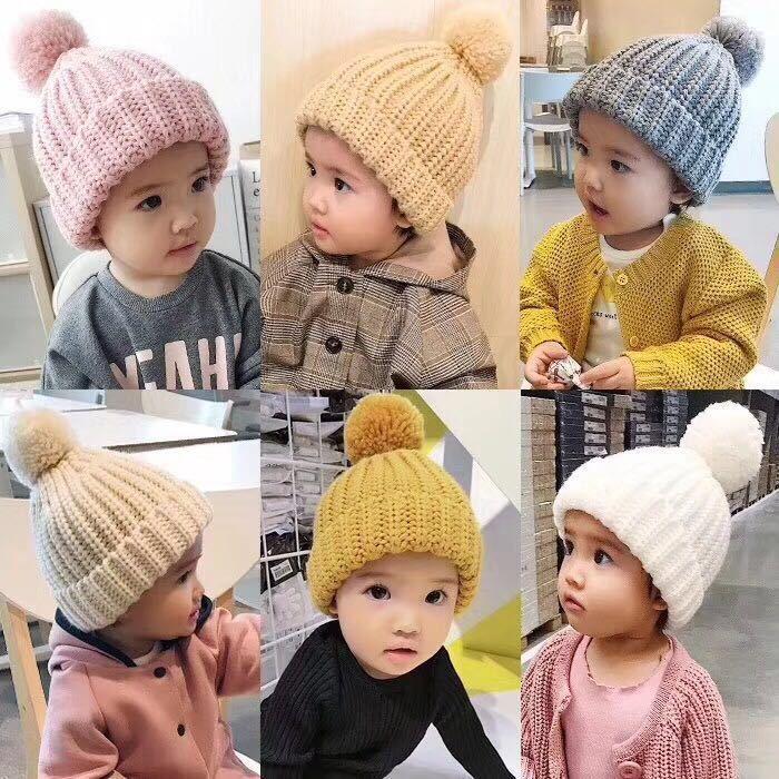 Cute Baby Knitted Hat Fashion Kids Warm Winter Soft Fur Pom Ball Caps Candy Color Crochet Beanie Cap TTA1455