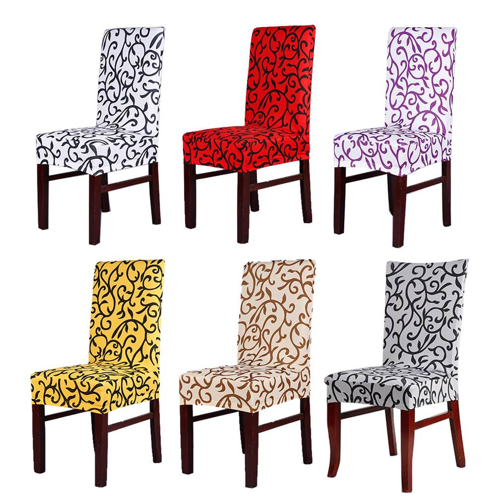 Hot Sale 6pcs/lot Modern Printed Vine Elastic Stretch Spandex Home Dining Chair Cover White/Red/Purple/Beige Multi Colors