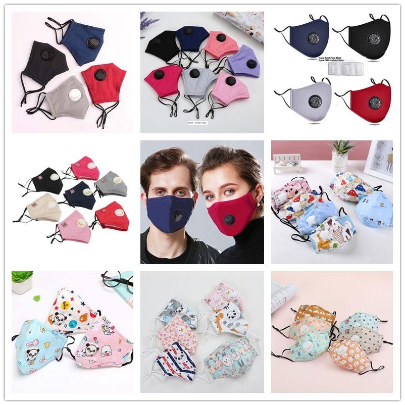 Neueste erwachsene Kinder Maske mit Filter PM2.5 Baumwolle Gesicht Mund-Maske Staubdichtes schützende Schablonen-Cartoon-Gesichtsmasken waschbar Carbon Filter Breathe