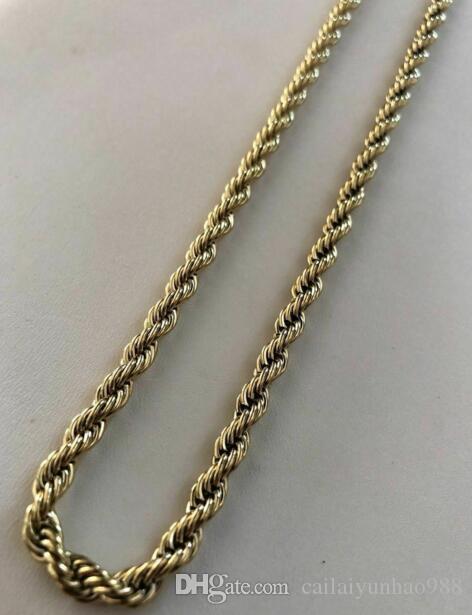 Corrente de corda masculina 14k ouro sobre aço inoxidável espessura 24 '5mm não muda de cor