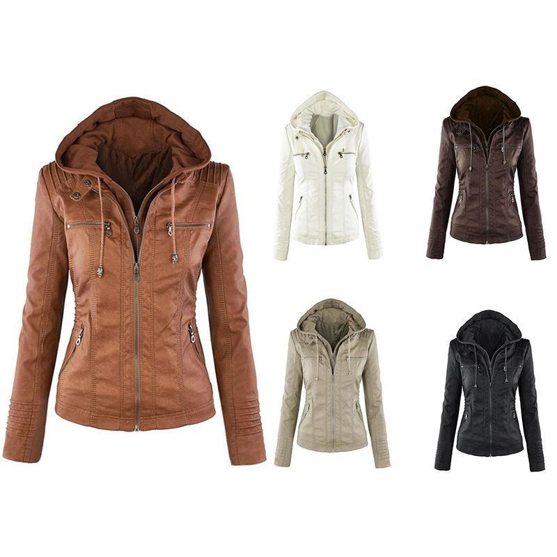 Womens Winter Jacket Long Sleeve Women Leather Jackets Cardigan Style Autumn Spring Fashion Outwear PU Jacket For Ladies Asian Size