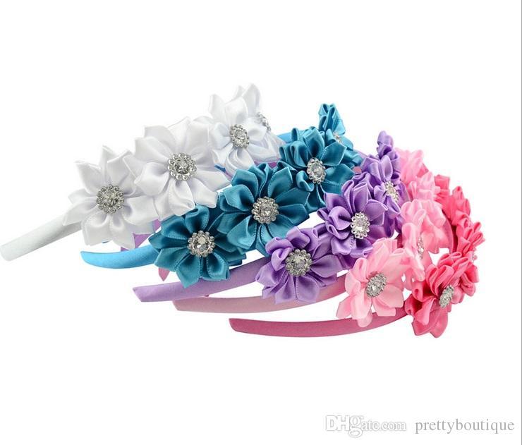 Filles Mode Bébé 5 pouces Bandeau ruban avec 4 petite fleur couvert Hairband Boutique ruban gros-grain Fleur Bow Bandeau A180
