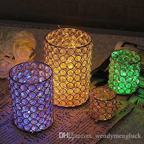 A Vincidern Cylinder Glass Tealight Candle Holders Metal Cup Crystal Candlesticks Stand Vases for Home Wedding Decoration Table Ce