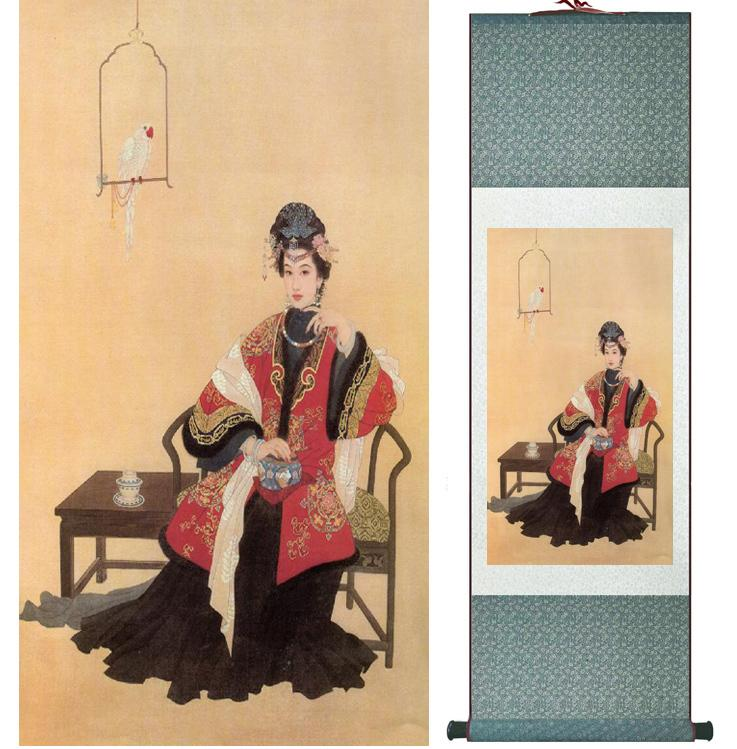 Traditional Chinese Pretty Girls Painting Home Office Decoration Beautifull Women Painting041004