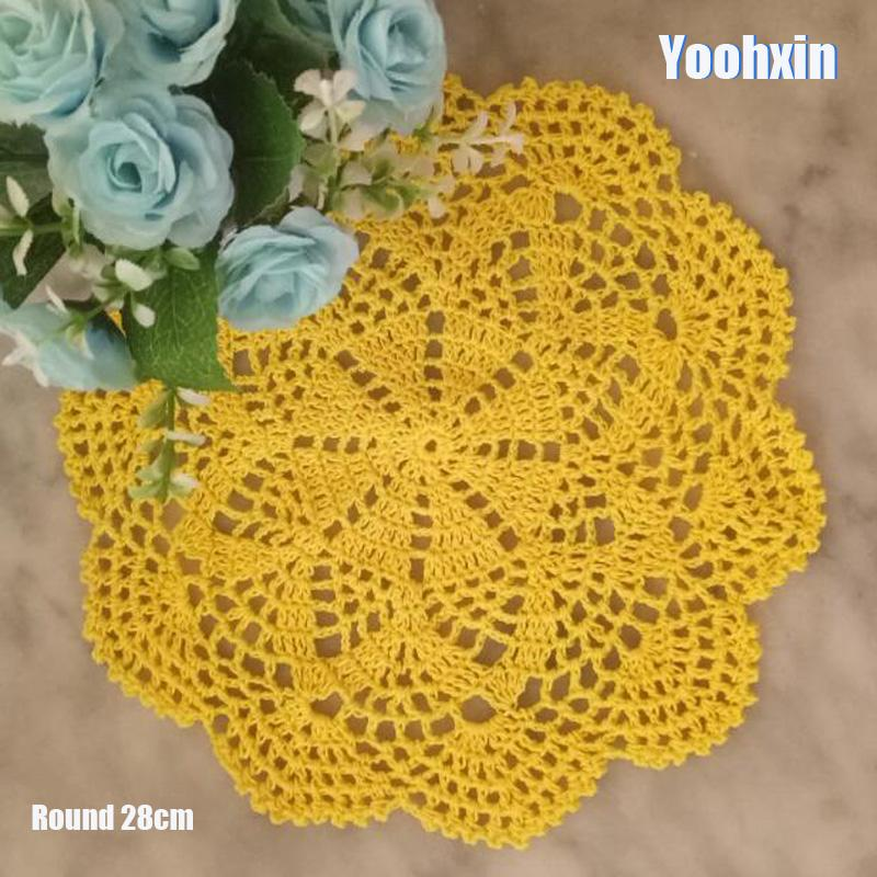 HOT Lace Round cotton table place mat dish pad Cloth crochet placemat cup mug wedding handmade drink doily kitchen