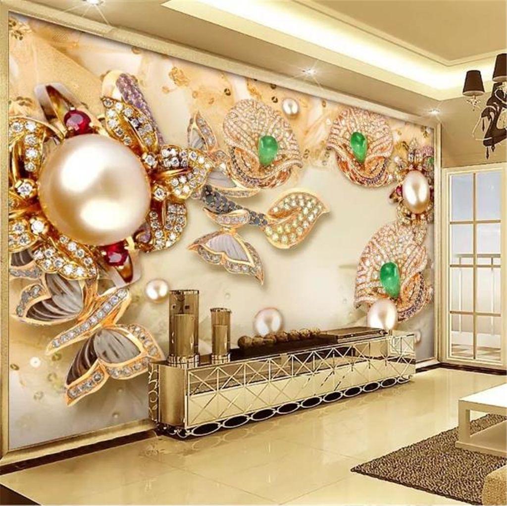 Custom Wallpaper 3d Golden Glass Diamond Flower Jewelry Living Room Bedroom Background Wall Decoration Wallpaper S For Wallpapers S