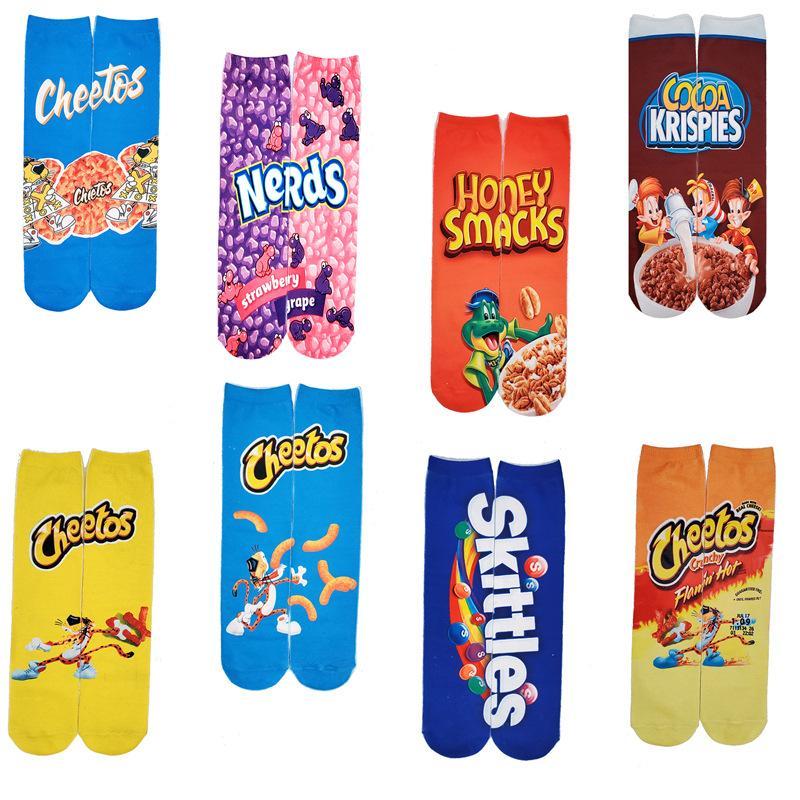 Unisexe drôle fou Nouveauté 3D Imprimer Chips Food Motif Athletic Basketball Crew Tube Chaussettes enfants Chaussettes Creative Bas Colorful M627F