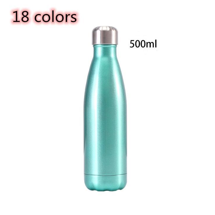 garrafa de cola 18 cores de aço inoxidável garrafa de água forma cola 500ML 17 onças isolamento térmico de parede dupla garrafa de água reutilizável