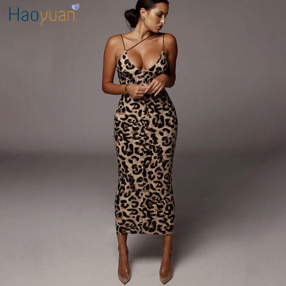 HAOYUAN Sexy Leopard Snake Print Spaghetti Strap Bodycon Midi Dress Women 2020 Summer Fashion Vestidos Night Party Club Dresses T200318