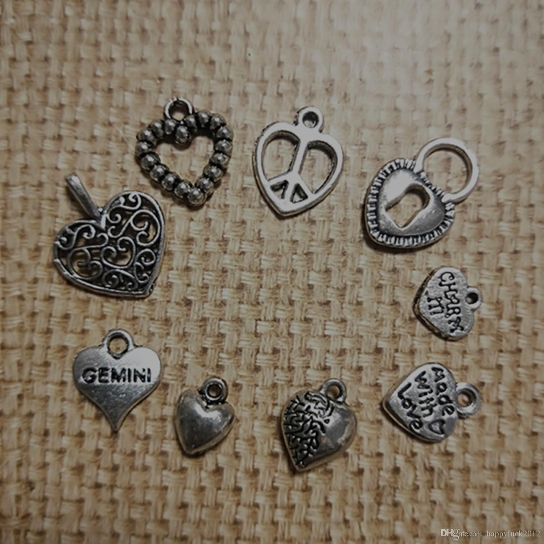 Pendente antico della collana di fascino dell'orecchino del braccialetto del cuore del braccialetto di tono del nastro antico della traversa di fascino trasversale 9Style 100PCS / Lot