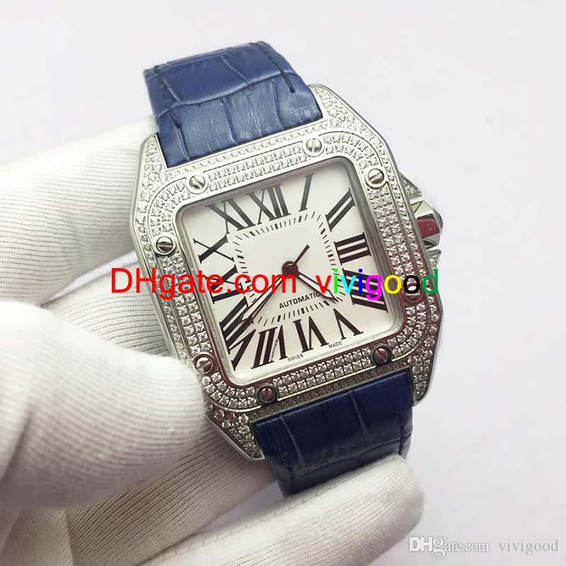 العلامة التجارية الأعلى الساعات الفاخرة 100XLMen مربع جنيف حقيقية الماس التلقائي الساعات عالية الجودة أزياء رجالي سانتو الساعات
