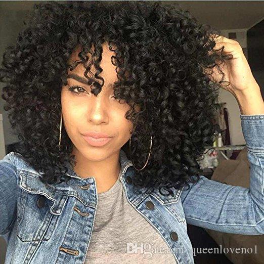 Sentetik Sapıkça Kıvırcık Saç Siyah Kısa Bob Kadınlar için Peruk Orta Kısmı Peruk