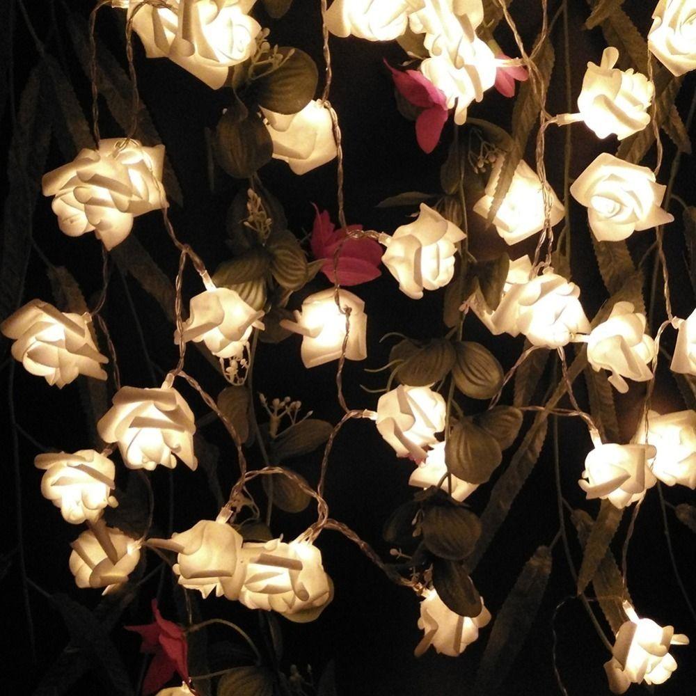 الديكور 2M 20 الورود زهرة إكليل بقيادة أضواء عطلة سلسلة عيد الحب عيد ميلاد عرس حزب أضواء البطارية الاقتصادية