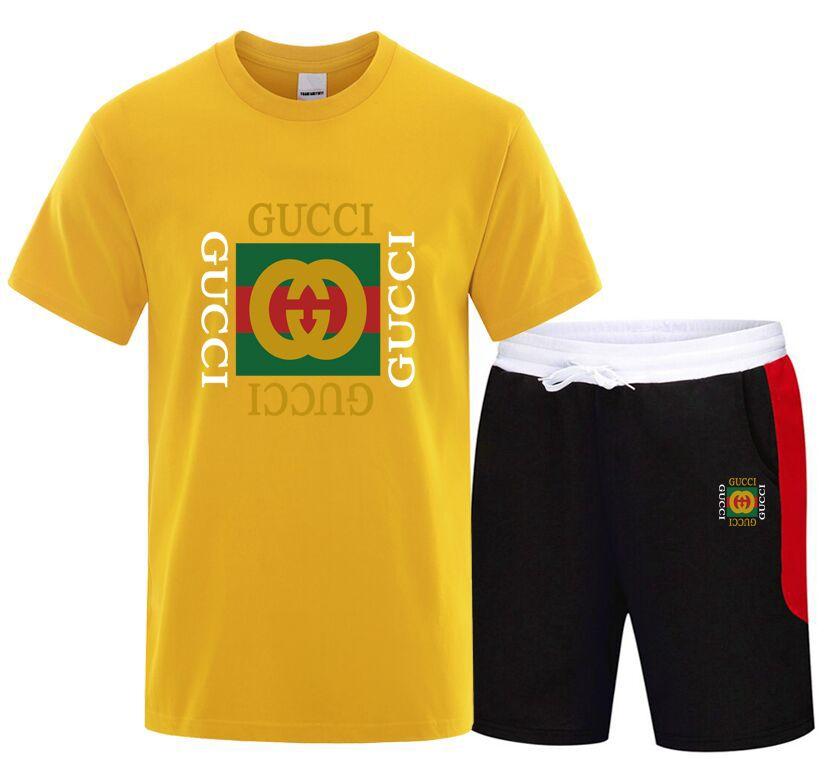 Moda Yaz 2PC En Kısa Seti Mens 2 adet tişört şort Spor Suits Eşofman Pamuk Sportsuits Seti Sıcak Satış Yaka Standı 2020
