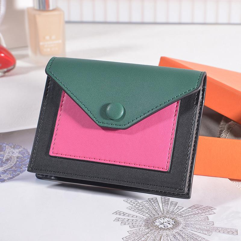 Pop2019 Leder Genuine Ma'am Short Fund Brieftasche Hit Rechtschreibung Farbe Japan und Korea High Archives Kleingeld-Paket