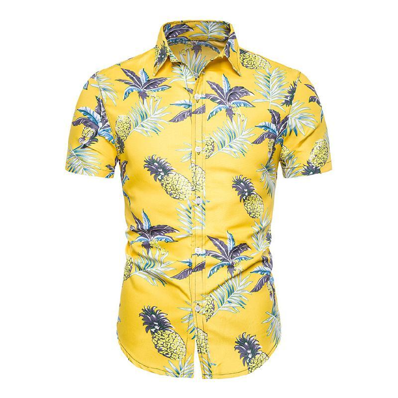 Beach Hawaiian Hemden Herren 2019 Sommer Hipster Casual Kurzarm New Button Down Tropical Men Ananas Aloha Shirt Slim Fit