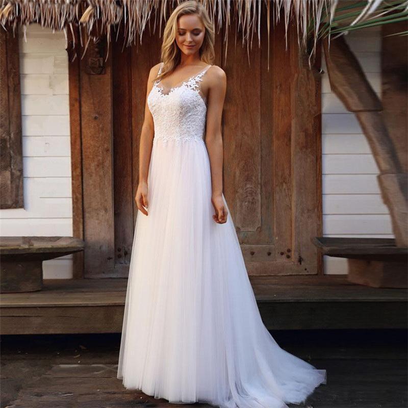 2020 Vestido de Noiva Praia Long Sleeve Boho V Neck traseira aberta vestidos de noiva Chiffon Princesa Lace Chiffon Vestido de casamento