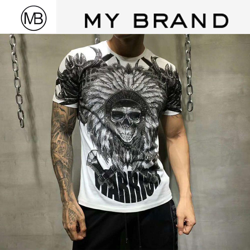 MY BRAND T-Shirt der Männer DESIGNER T-SHIRT MÄNNER WEISS ROT TEE SKULL AX STEINE T-SHIRT KRIEGER CRYSTAL LETTERS TOPS