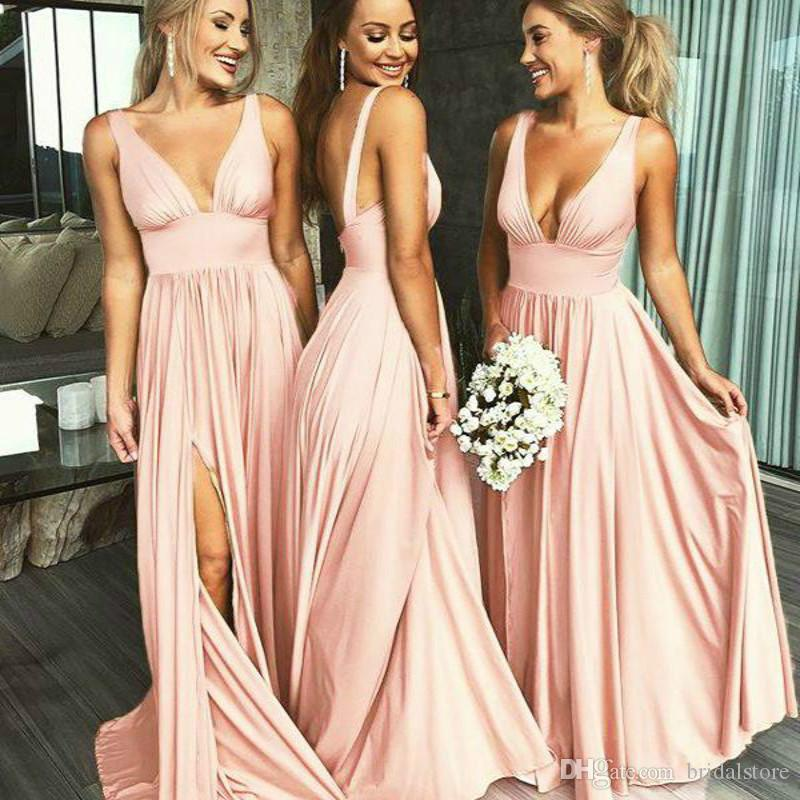 cheap blush pink country bridesmaid dresses deep v two straps junior maid of honor dress simple backless long slits plus size prom gown