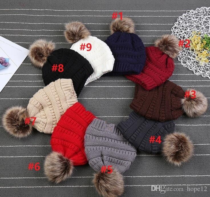 Çocuklar Ponpon kasketleri Bebek Örgü Kış Sıcak Şapka Kalın Sıkı Örme Beanie Cap Bobble Beanie Şapkalar 9 Renkler
