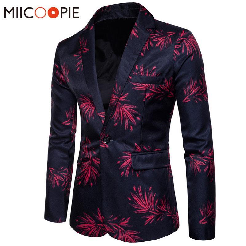 Nouvelle marque Mens Fashion Blazer imprimé floral Slim Fit Blazer Masculino bouton et costume pour hommes survêtement Manteau