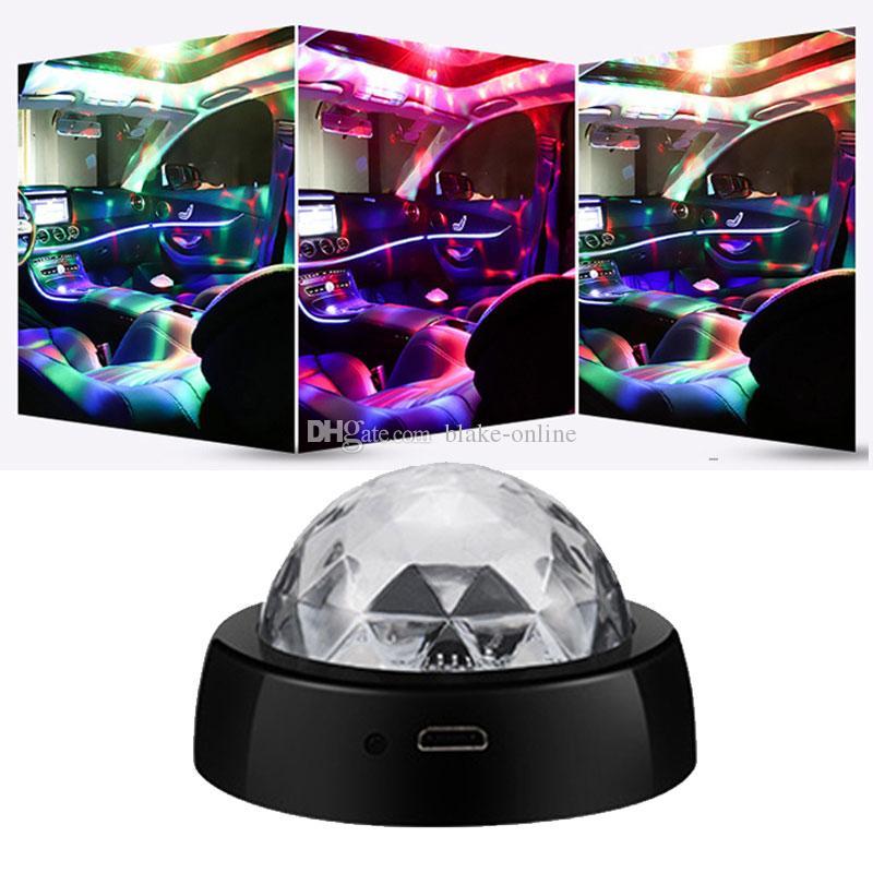Mini DJ Disco Boule de cristal RGB LED USB protable Lights atmosphère lampe LED scène lampe flash automatique