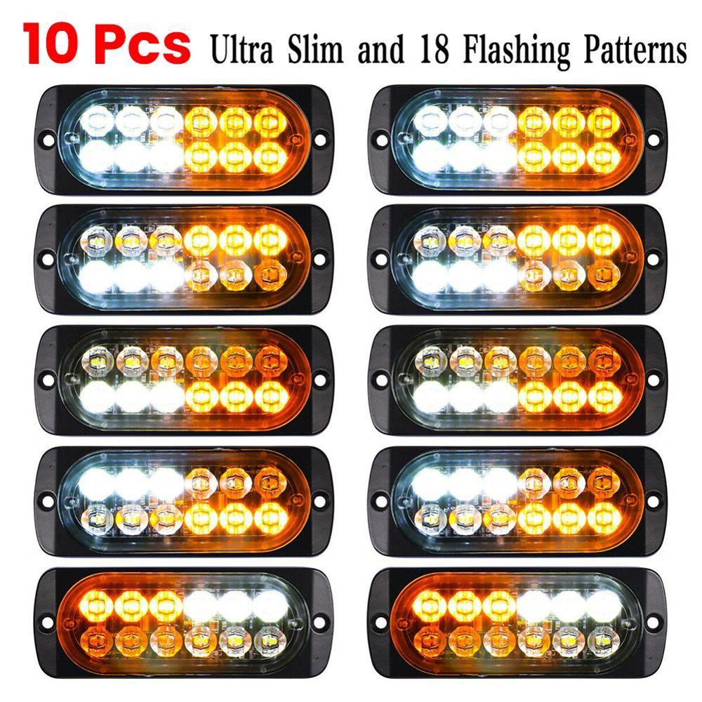 러쉬 세일! 10PCS 비상 (12) LED 황색 백색 섬광 견인 트럭 깜박임 12V-24V 램프 전구 LED 자동차 도매 CSV