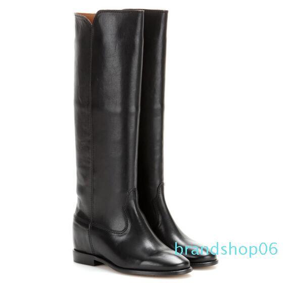El diseño perfecto Nuevos zapatos de cuero botas de Isabel Ajedrez París Calle Estilo Moda Marant Negro de piel oculta cuña botas de montar
