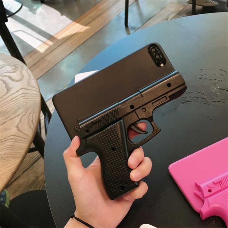 3D Gun Şekli Sert Telefon Shell Kılıf Kapak iPhone 11pro 6 6S 7 8 Plus X XS XR MAX serin için