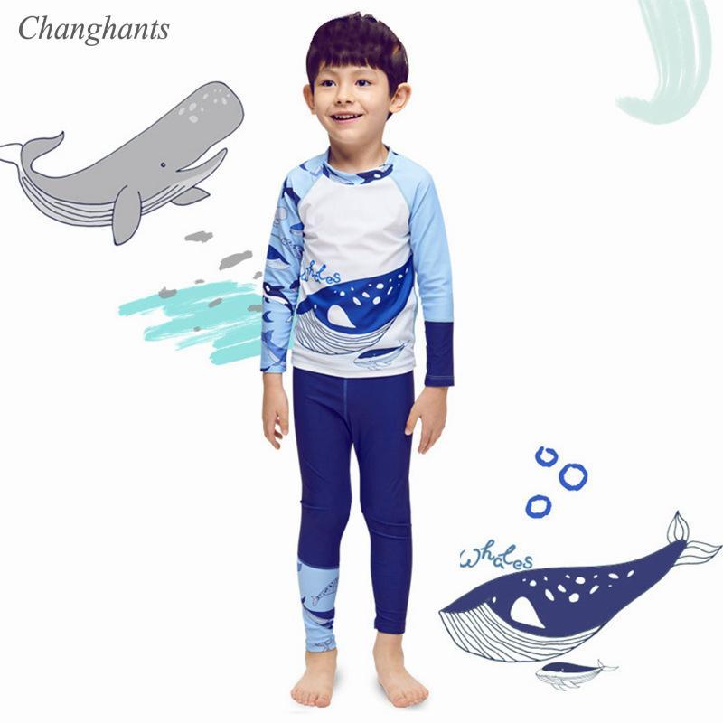 Новая модель 2-12 Y Baby Boy Сыпь гвардейской Синий Белый Wale с длинным рукавом из двух частей Купальники детей плавать износ Surf серфинг плавание