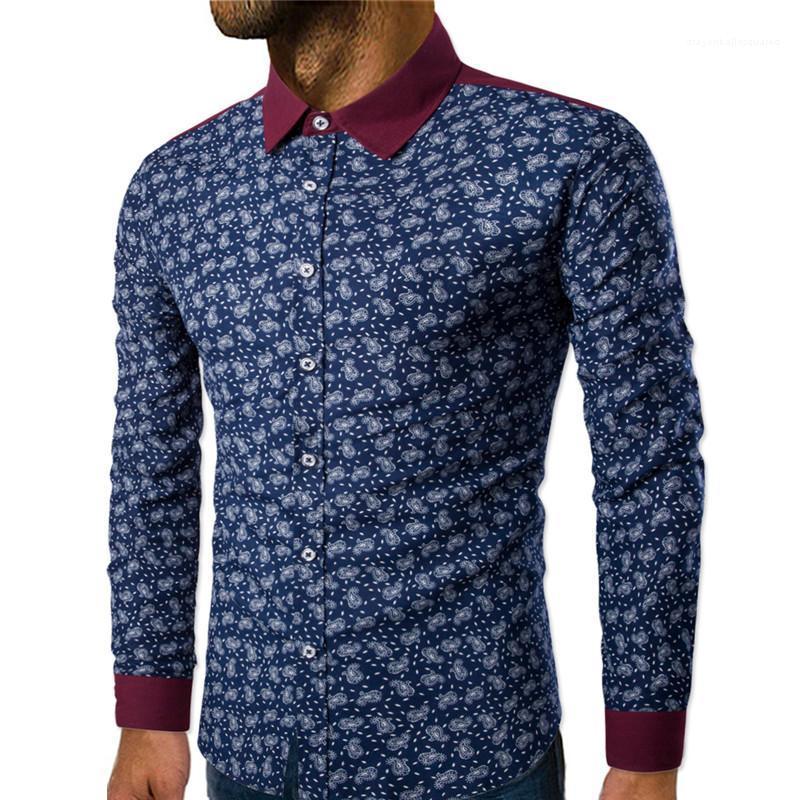 Панельные Однобортные Мужские Рубашки Повседневные Отвороты Шеи Мужская Одежда Цветочный Принт Мужские Дизайнерские Рубашки Мода