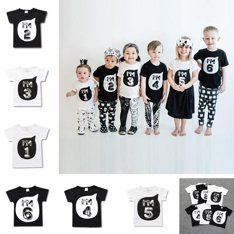 Summer Children Blouse T Shirt Cotton Clothing Baby Kids Figure Letters Print T-shirt Top Tees Boys Girls Black White Tshirts DHL D3303