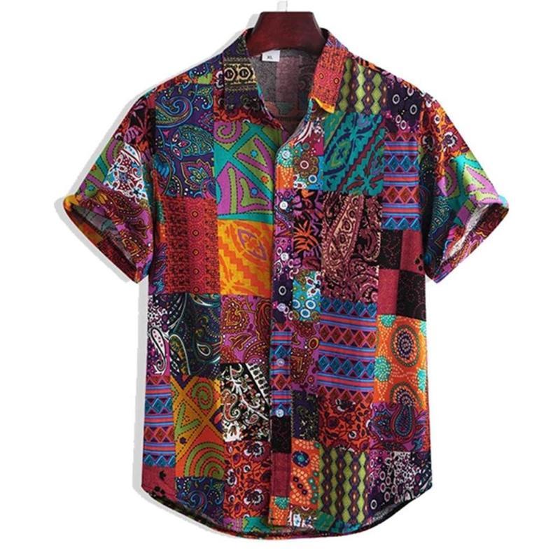 Milli Stil Erkekler Keten Çiçek Kısa Gömlek Yaz Hawaii Tatil Gevşek Casual Standı Gömlek 0630 Top # yazdır