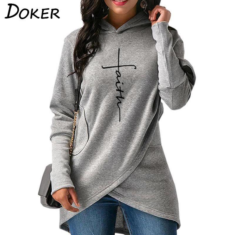 Sonbahar Hoodies Sweatshirt Kadınlar Uzun Kollu Cep Mektupları Nakış Isınma Kapşonlu Kazak Artı boyutu Casual Kadın Giyim Tops