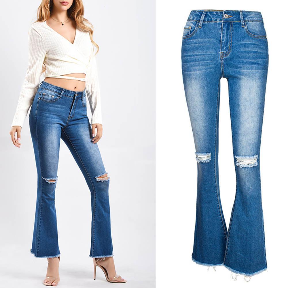 pantaloni svasati nuove donne di arrivo della signora sexy skinny jeans da donna a vita alta denim Pantaloni 2020 di stirata di modo ricamato Jeans J001