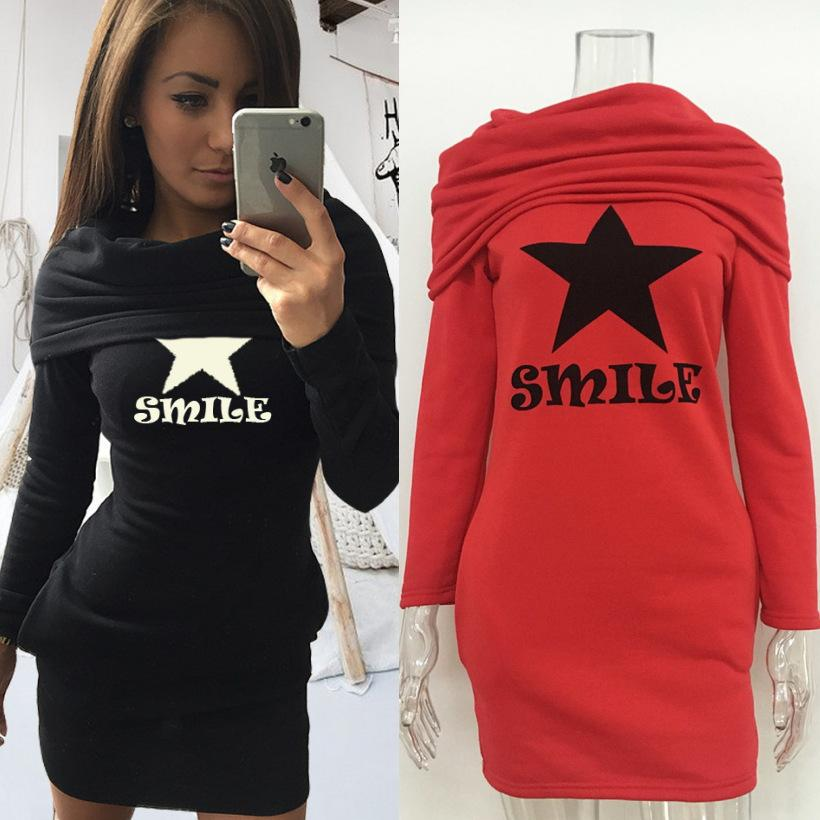 2017 Fashion manches longues casual lettre imprimée sweats à capuche Dress femmes pulls à capuche pull truien long sweat à capuche robe noir rouge