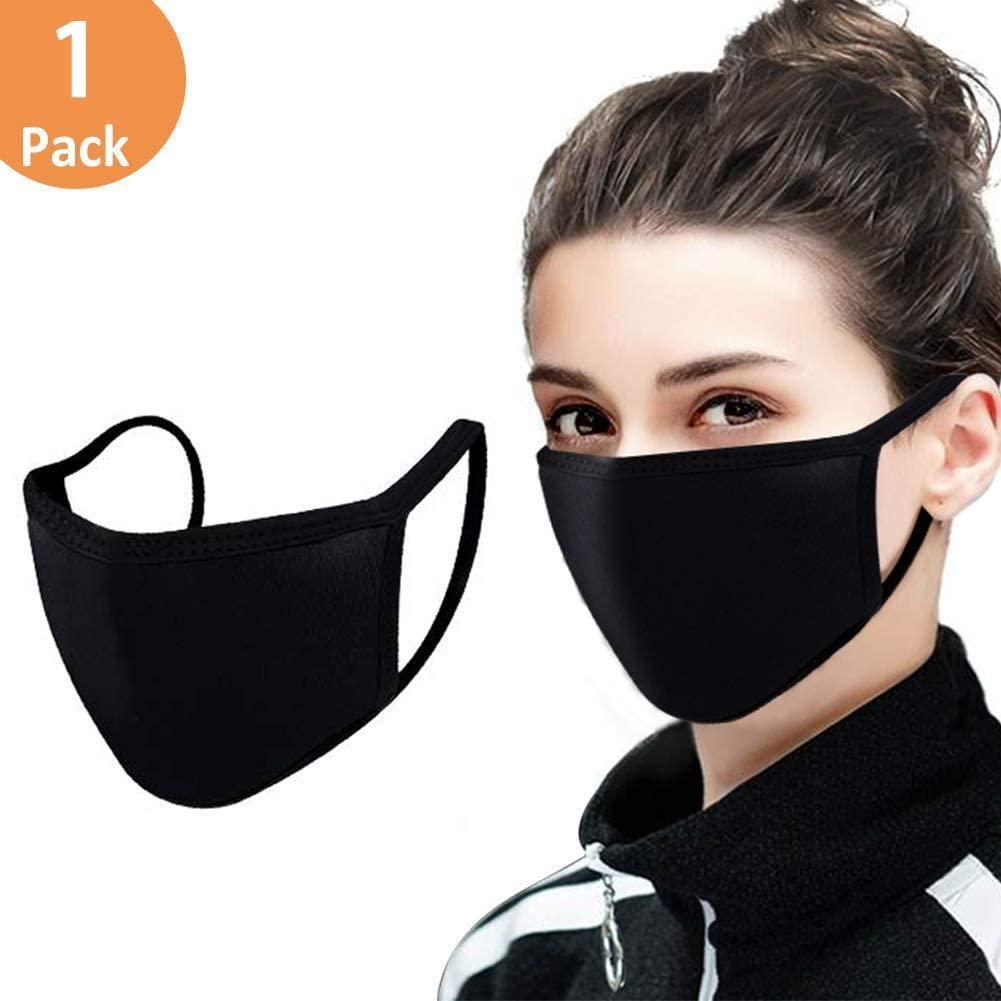Regolabile maschera antipolvere viso, cotone Bocca Black Mask muffola maschera per il riciclaggio di campeggio di viaggio, 100% cotone riutilizzabile lavabile maschere di stoffa