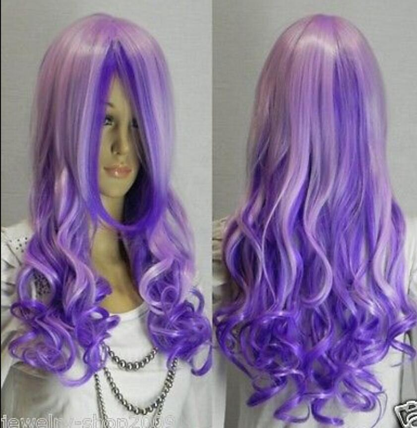 WIG free shipping New Cosplay beautiful long purple mixed curly Hair women wig