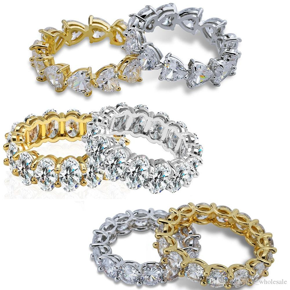 Iced Out Diamond Ring Men Hip Hop Jewelry Heart Round Oval Bling CZ Stone Hiphop Rings Women Mens Copper 18k Gold Plated Jewellery