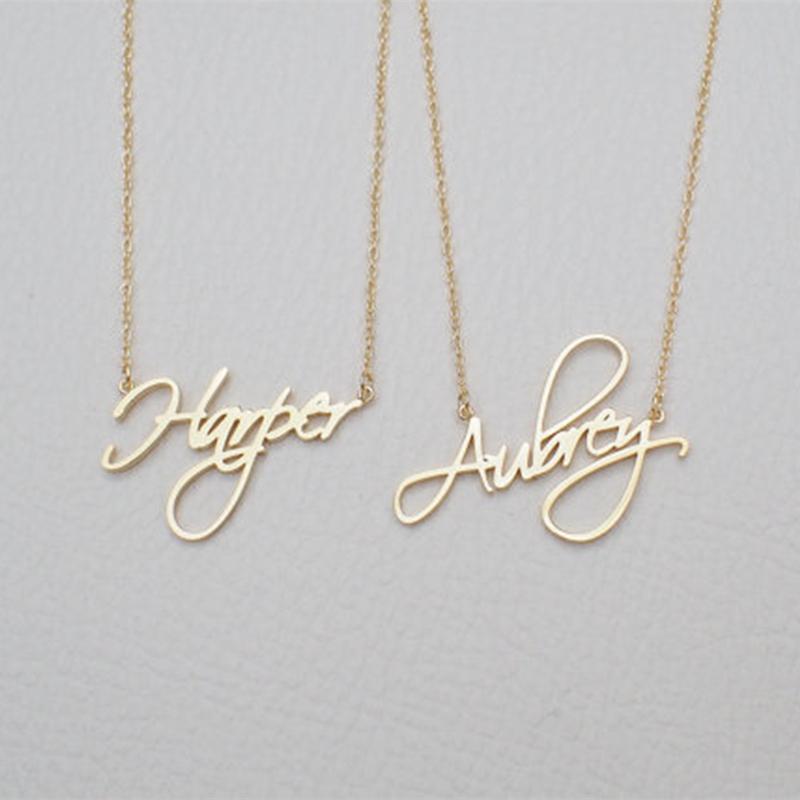 Nombre Collar Regalo personalizado Personalizado Colgante Cursivo Escritura Cadena de Acero Inoxidable Personalizada Joyería de Moda de Las Mujeres 2018
