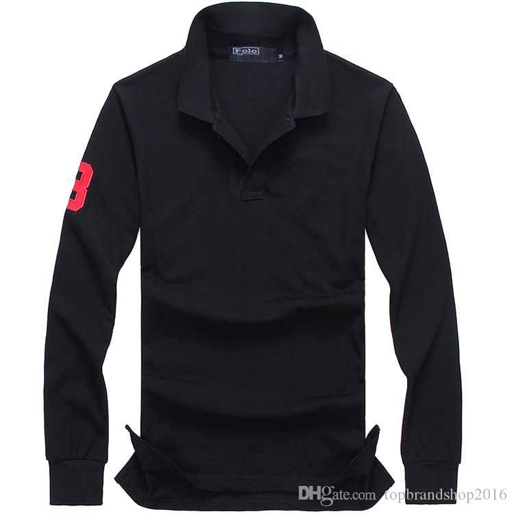 2020 Mens Designer camisetas Polo manga comprida crocodilo bordado roupa pequeno grande cavalo lapela Luxo Shirt Ralph Cotton Imprimir Homme
