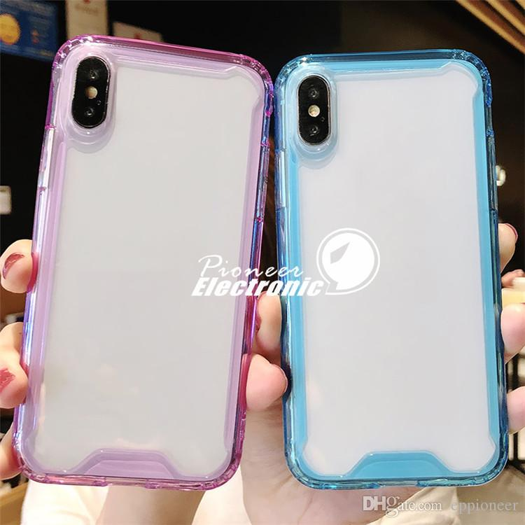 Clear Acrylic Silicone Cases For iPhone 11 Pro Max XS XR SE Protector Shookproof Transparent Cover for Samsung s20 S10Note 10 Mate 20