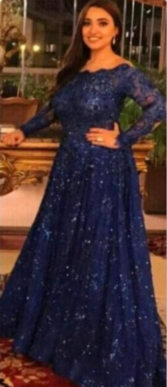 New Arabic Abaya Long Sleeve Lace Muslim Evening Dress Capped Floor Length Prom Dress Navy Blue Custom Formal Evening Gowns Plus Size