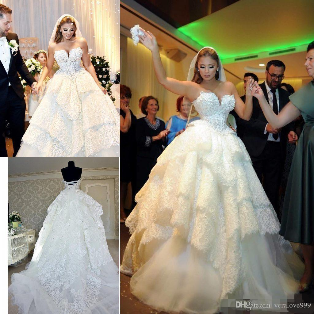 Luxurious Full Lace Ball Gown Wedding Dresses Long Sweetheart Pearls Beaded Tiered Skirt Strapless Puffy Princess Church Castle Bridal Gowns