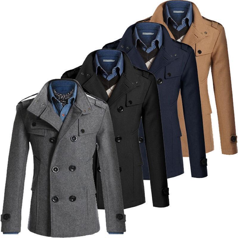 Escudo para hombre del invierno de los hombres caliente del invierno de la capa de foso del chaquetón chaquetas color sólido del collar del soporte de doble botonadura Chaquetón