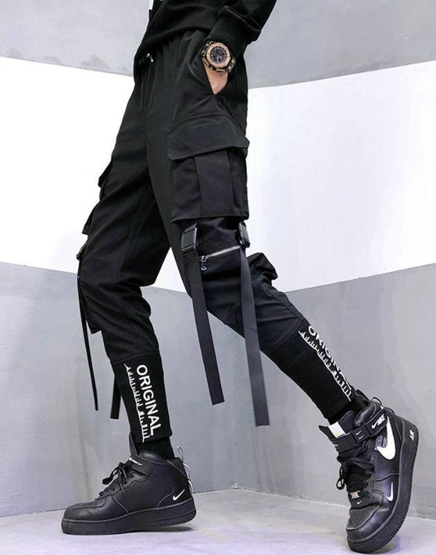 Vêtements rubans Pantalons hip-hop pour hommes hommes poches casual pantalons de survêtement de taille élastique