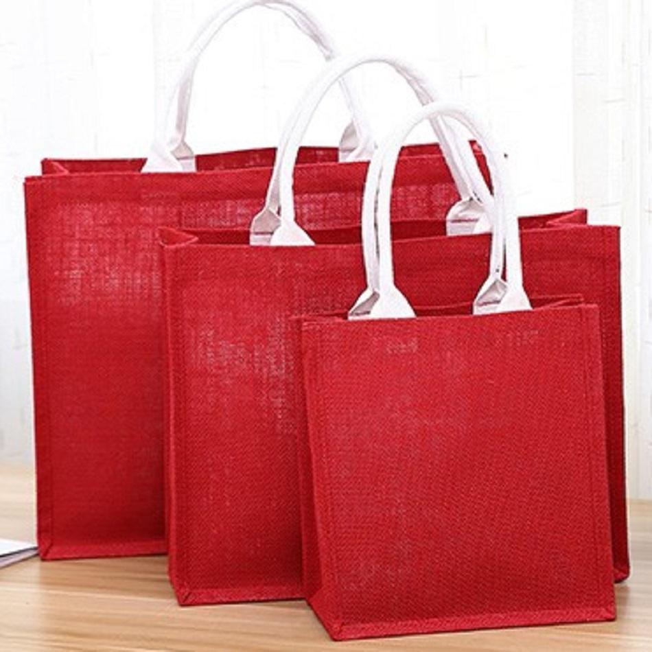 Environment friendly jute bag,recyclable dual tote customized jute bag,colorful jute bag at low price